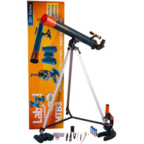 Levenhuk LabZZ MTB3 Compound Microscope, 50mm Refractor AZ Telescope, 4x30 Roof Binocular Kit