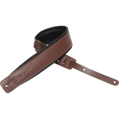 "Levy's 3"" Leather Guitar Strap with Foam Padding and Garment Leather Backing (37 to 50"", Brown)"