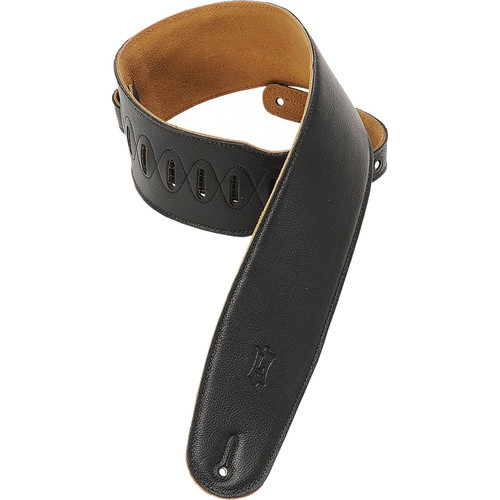 "Levy's M4GF-BLK 3.5"" Garment-Leather Bass Strap (36 to 52"", Black)"