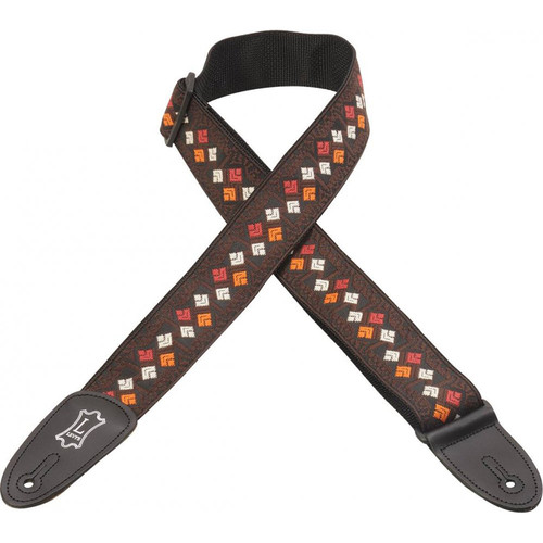 "Levy's 2"" Weave Guitar Strap (54"", Brown Squares Pattern)"