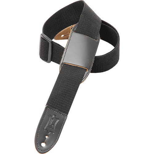 "Levy's 1.5"" Polypropylene Youth Guitar/Ukulele Strap with Movable Leather Pad (Up to 39"", Black)"