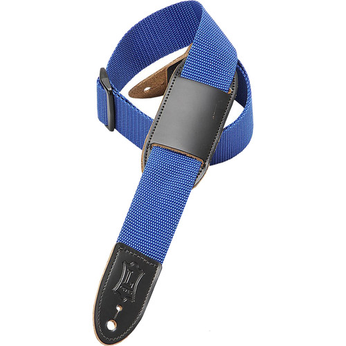 "Levy's 1.5"" Polypropylene Youth Guitar/Ukulele Strap with Movable Leather Pad (Up to 39"", Blue)"
