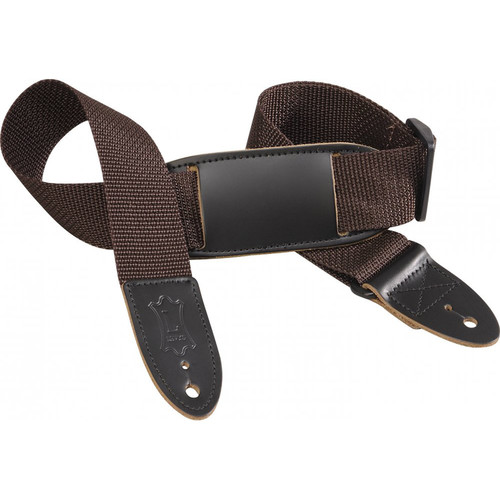 "Levy's 1.5"" Polypropylene Youth Guitar/Ukulele Strap with Movable Leather Pad (Up to 39"", Brown)"