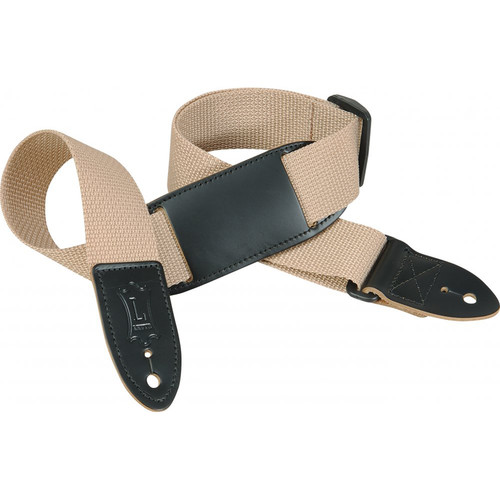 "Levy's 1.5"" Polypropylene Youth Guitar/Ukulele Strap with Movable Leather Pad (Up to 39"", Tan)"