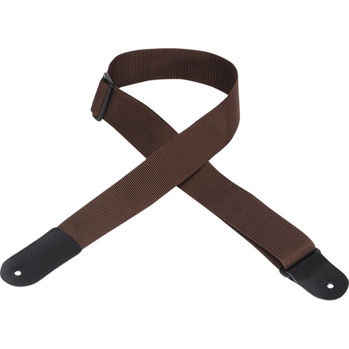"Levy's 2"" Polypropylene Guitar Strap with Large Leather End (Up to 63"", Brown)"