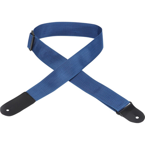 "Levy's 2"" Polypropylene Guitar Strap with Large Leather End (Up to 63"", Navy)"