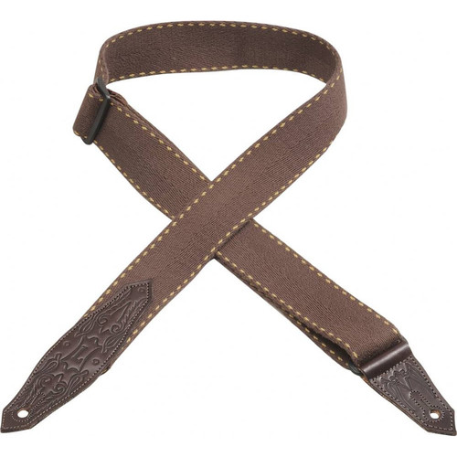 Levy's Heavy-Weight Cotton Guitar Strap with Contrasting Woven Border (Brown)