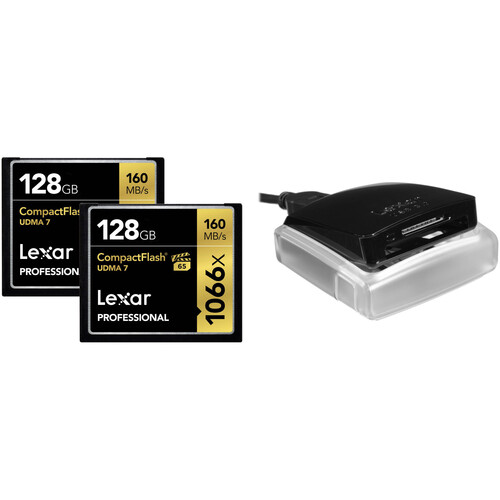 Lexar 128GB Professional 1066x CompactFlash Memory Card (2-Pack) with USB 3.0 Dual-Slot Card Reader