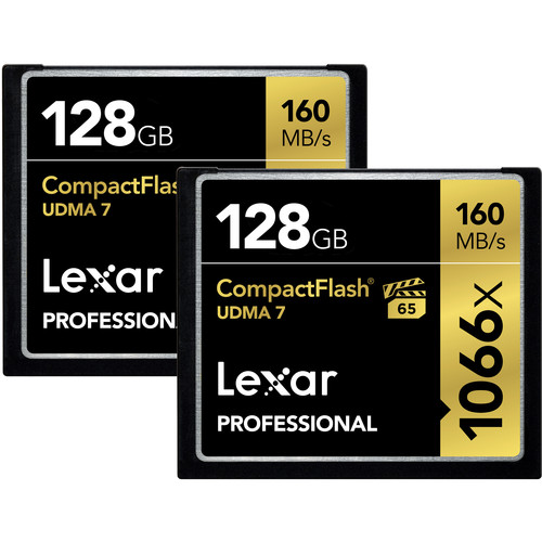 Lexar 128GB Professional 1066x CompactFlash Memory Card (UDMA 7, 2-Pack)