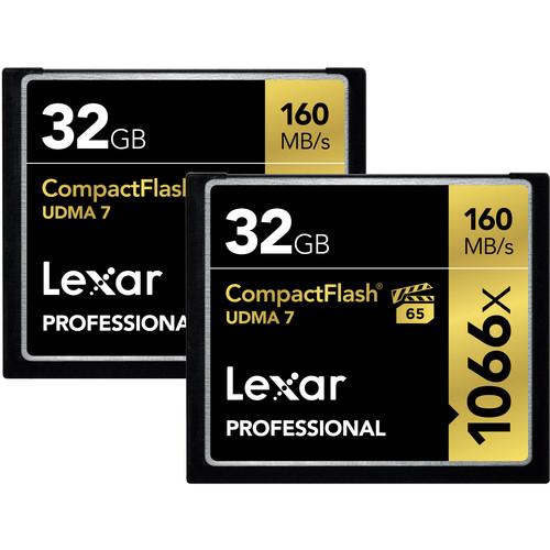 Lexar 32GB Professional 1066x CompactFlash Memory Card (UDMA 7, 2-Pack)