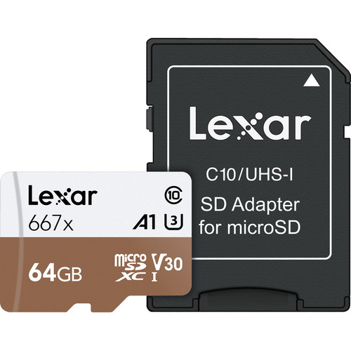 Lexar 64GB Professional 667x UHS-I microSDXC Memory Card with SD Adapter
