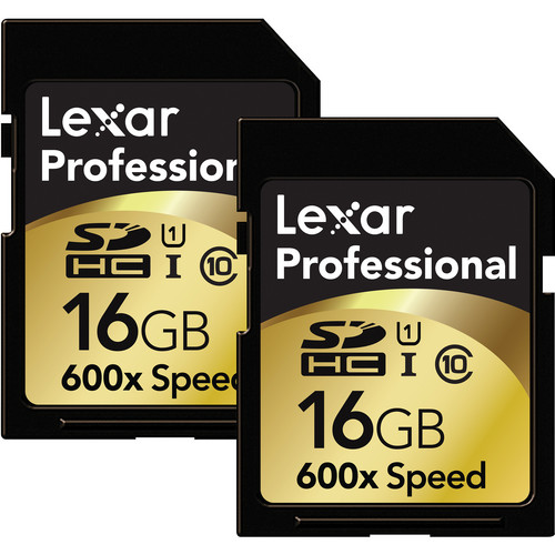 Lexar 16GB SDHC Memory Card Professional Class 10 600x UHS-I (2-Pack)
