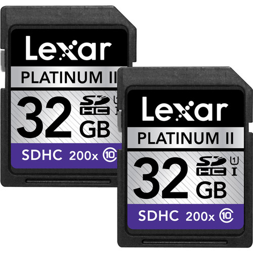 Lexar 32GB SDHC Platinum II 200x Class 10 UHS-I Memory Card (2-Pack)