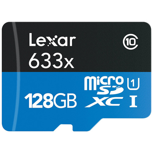 Lexar 128GB High-Performance 633x UHS-I microSDXC Memory Card with SD Adapter
