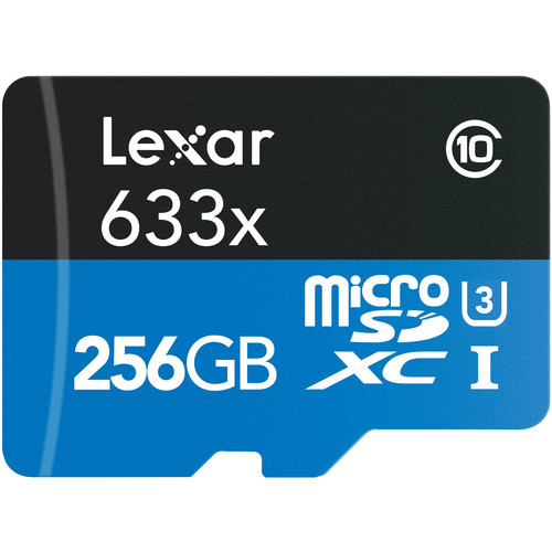 Lexar 256GB High-Performance UHS-I microSDXC Memory Card with SD Adapter