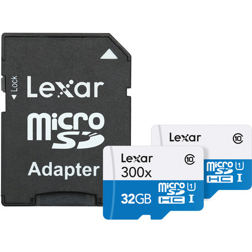 Lexar 32GB Mobile/Sport 300x microSDHC Memory Cards (Class 10, 2-Pack)