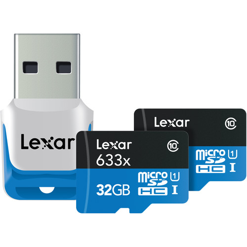 Lexar 32GB Mobile/Sport 633x microSDHC Memory Cards (Class 10, 2-Pack)