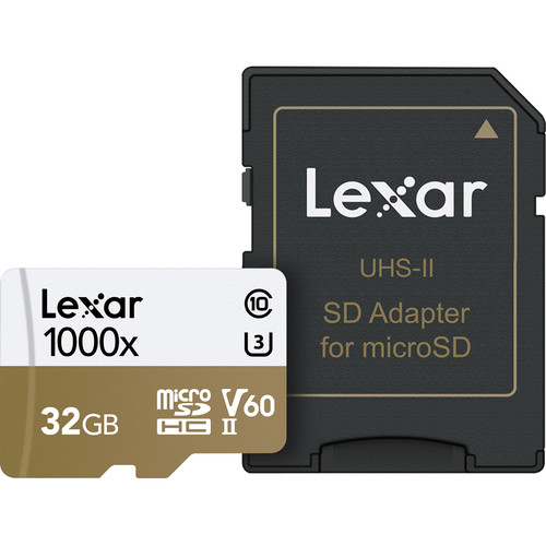 Lexar 32GB Professional 1000x UHS-II microSDHC Memory Card with SD Adapter