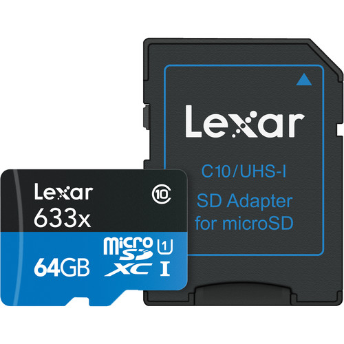 Lexar 64GB High-Performance UHS-I microSDXC Memory Card with SD Adapter