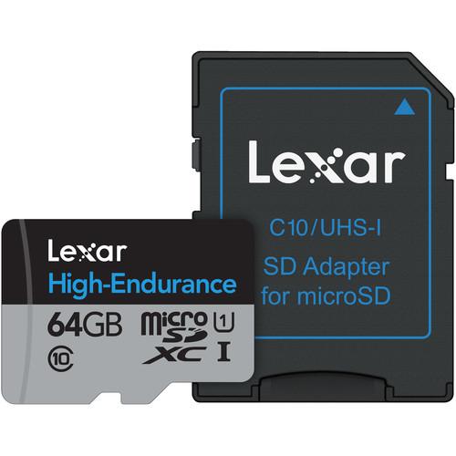 Lexar 64GB High Endurance UHS-I microSDXC Memory Card