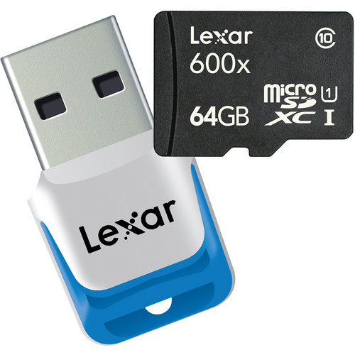 Lexar 64GB High-Performance microSDXC 600x Class 10 UHS-I Memory Card with USB 3.0 Reader