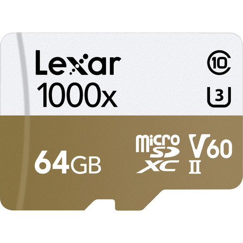 Lexar 64GB Professional 1000x UHS-II microSDXC Memory Card with SD Adapter
