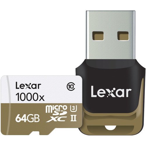 Lexar 64GB Professional 1000x microSDXC UHS-II Memory Card with USB 3.0 Card Reader
