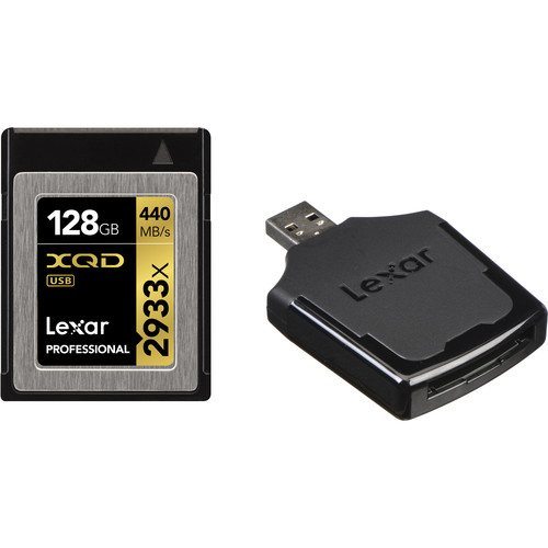 Lexar 128GB Professional 2933x XQD 2.0 Memory Card with USB 3.0 Card Reader