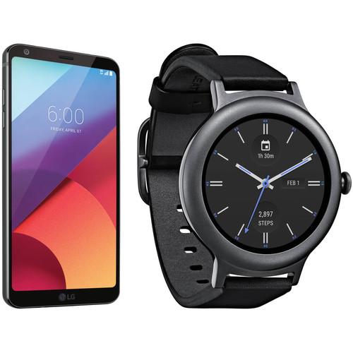 LG Black G6 32GB Smartphone Kit with Titanium Watch Style (Unlocked)