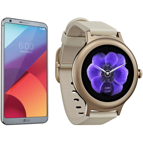 LG Platinum G6 32GB Smartphone Kit with Rose Gold Watch Style (Unlocked)