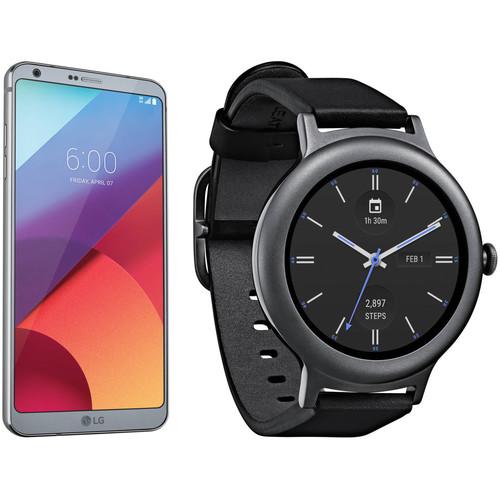 LG Platinum G6 32GB Smartphone Kit with Titanium Watch Style (Unlocked)