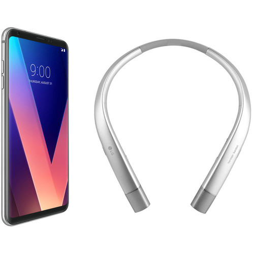 LG V30 US998 64GB Smartphone (Cloud Silver) with Wireless Headset (Silver) Kit