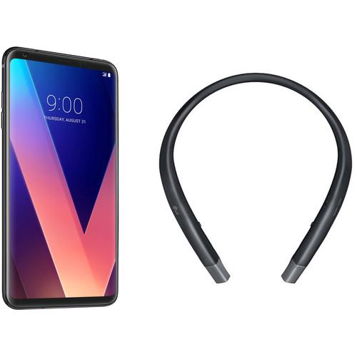 LG V30+ US998U 128GB Smartphone (Black) with Wireless Headset (Black) Kit