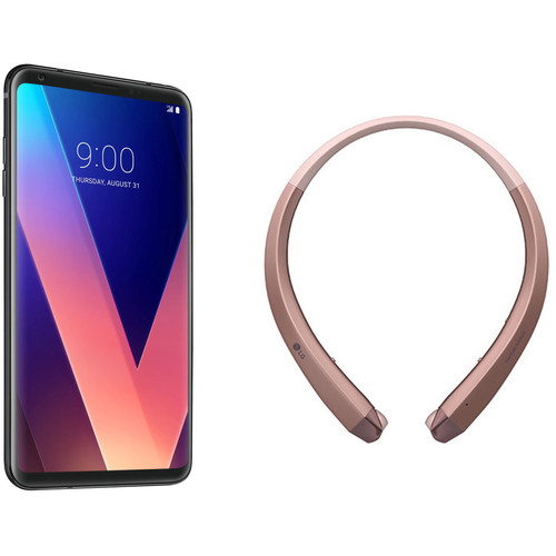 LG V30+ US998U 128GB Smartphone (Black) with Wireless Headset (Rose Gold) Kit