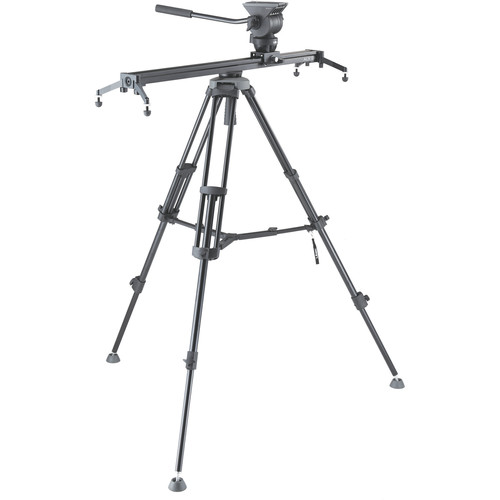 Libec 75mm Two-Stage Aluminum Tripod, Fluid Head, Slider, and Dolly Kit