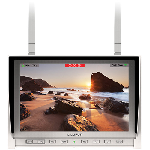 "Lilliput 339/DW 7"" Wireless FPV IPS Monitor with Dual 5.8 GHz Receivers (White)"