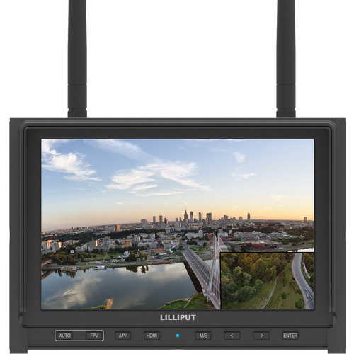 "Lilliput Electronics 339/DW 7"" FPV Monitor with Dual Built-in 5.8GHz Wireless Receiver (Black)"