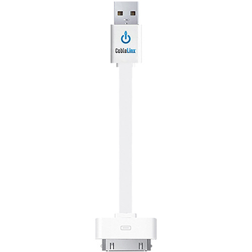 "ChargeHub CableLinx 30-Pin to USB 2.0 Charge and Sync Cable (3.5"", White)"