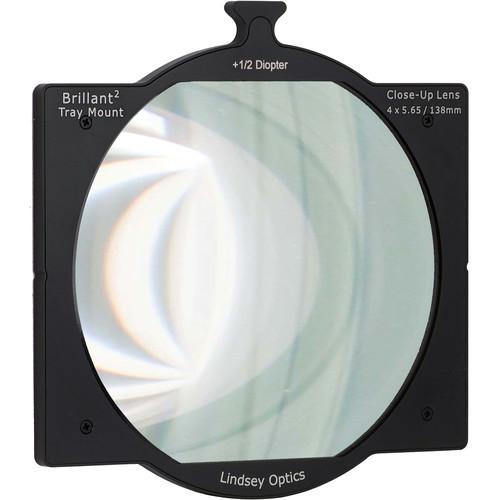 "Lindsey Optics 4 x 5.65"" +1/2 Diopter Brilliant Tray Mount Close-Up Lens"