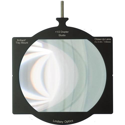 "Lindsey Optics Brilliant² 4 x 5.65"" +1/2 Diopter Tray Mount Studio Close-Up Lens"