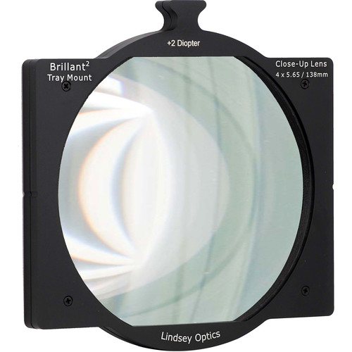 "Lindsey Optics 4 x 5.65"" +2 Diopter Brilliant Tray Mount Close-Up Lens"