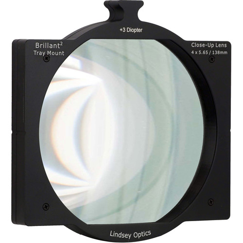 "Lindsey Optics 4 x 5.65"" +3 Diopter Brilliant Tray Mount Close-Up Lens"