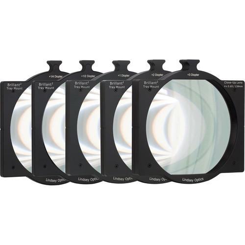 "Lindsey Optics 4 x 5.65"" Brilliant Tray Mount Close-Up Lens Set"