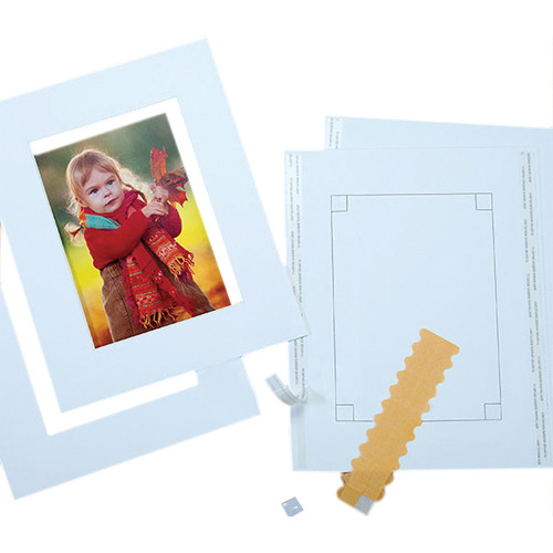 "Lineco Pre-Cut 8 x 10"" 2-Piece Mat Kit with 4 x 6"" Window (2-Pack)"