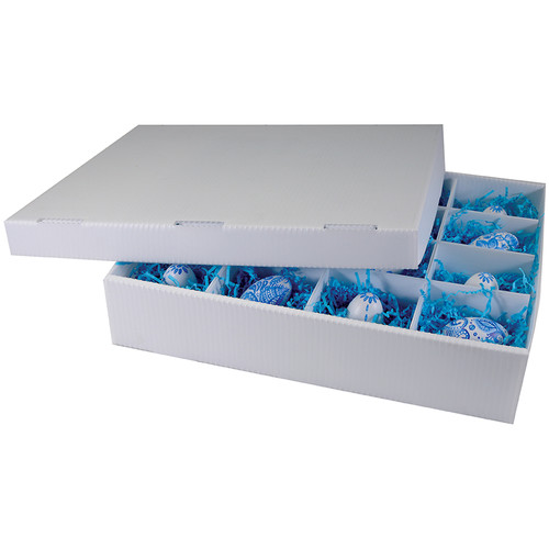 """Lineco Perma/Cor 16-Section Divided Storage Box (16 x 12.75 x 3.25"""", White)"""
