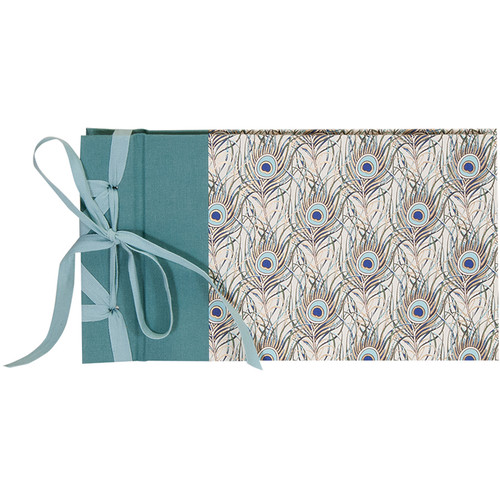 """Lineco Ribbon Bound Album with Ivory Pages Kit (Peacock Feathers Cover, 9.75 x 5.5"""")"""
