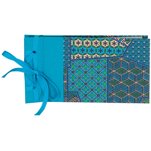 """Lineco Ribbon Bound Album with Ivory Pages Kit (Blue Geometric Cover, 9.75 x 5.5"""")"""