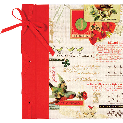 """Lineco Ribbon Bound Album with Ivory Pages Kit (Red Bird Cover, 9.75 x 11"""")"""