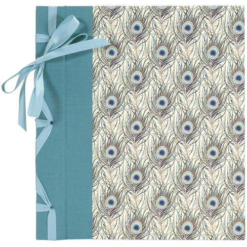 """Lineco Ribbon Bound Album with Ivory Pages Kit (Peacock Feathers Cover, 9.75 x 11"""")"""
