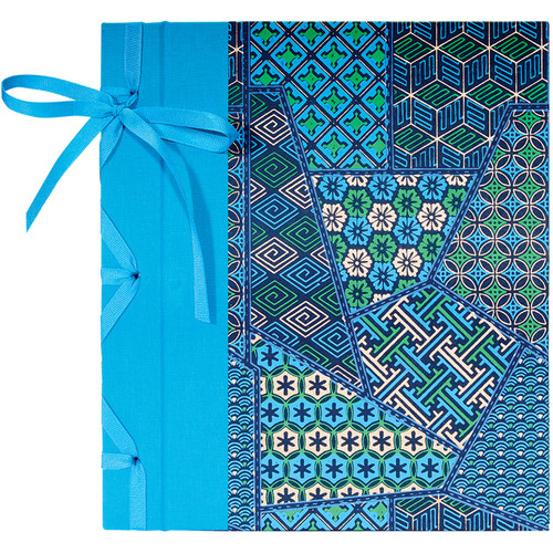 """Lineco Ribbon Bound Album with Ivory Pages Kit (Blue Geometric Cover, 9.75 x 11"""")"""